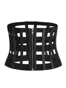 Black Cutout Zipper Corset Belt
