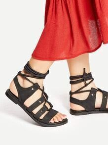 Black Lace Up Flat Gladiator Sandals
