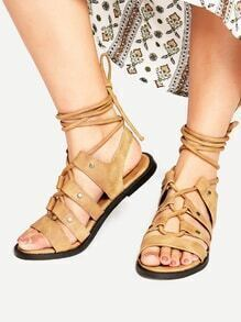 Brown Lace Up Flat Gladiator Sandals