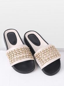 Sandalias planas de pu con detalle de cadena - blanco