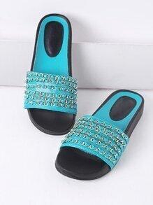 Turquoise Chain Detail PU Slide Flat Sandals