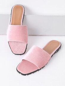 Pink Velvet Slide Flat Sandals