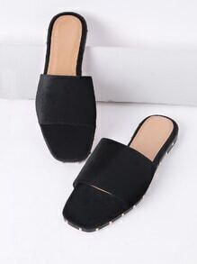 Sandalias planas de terciopelo - negro