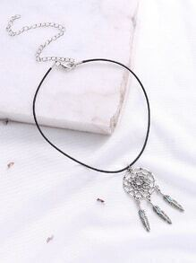 Silver Hollow Out Ring And Feather Pendant Necklace
