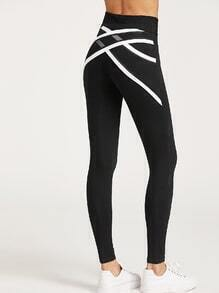 Black Contrast Trim Crisscross Mesh Back Leggings