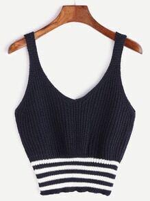 Navy Striped Hem Camiseta sin mangas