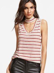 Multicolor Striped V Cutout High Neck Top