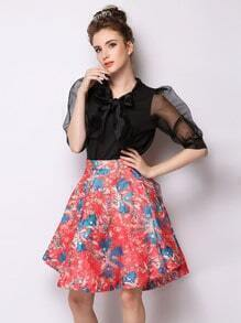 Red Flower Print Flare Skirt