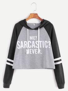 Contrast Raglan Sleeve Hooded Slogan Print Crop Sweatshirt
