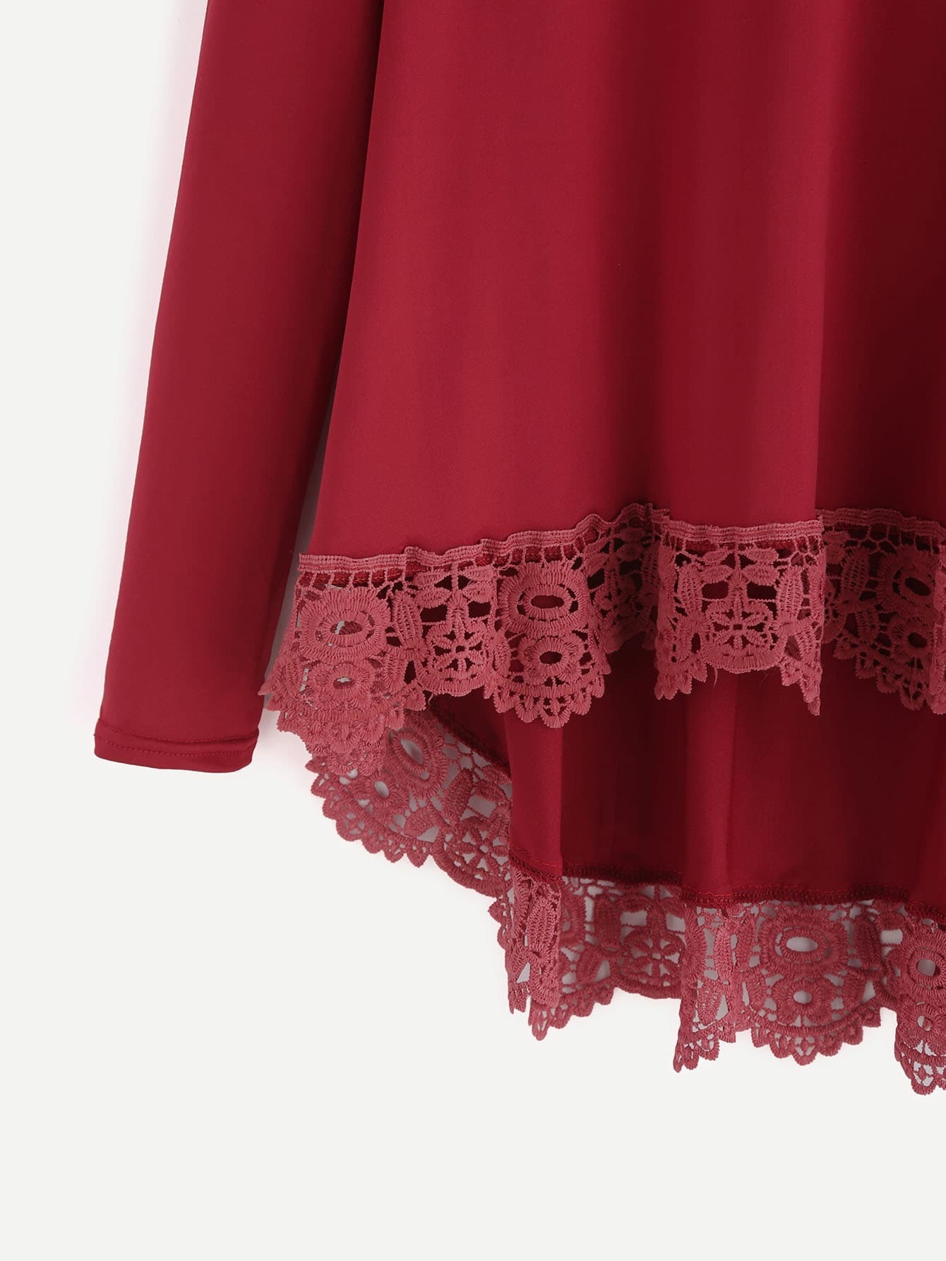 T shirt tricot contrast avec pan pliss bordeaux rouge for Interieur paupiere inferieure rouge