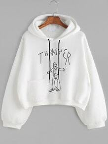 White Drawing Print Drop Shoulder Hooded Sweatshirt