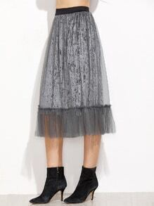 Grey Mesh Overlay Pleated Velvet Skirt