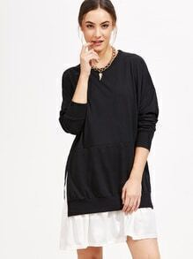 Black Color Block 2 In 1 Sweatshirt Dress