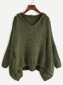 Army Green Ripped High Low Hooded Sweater