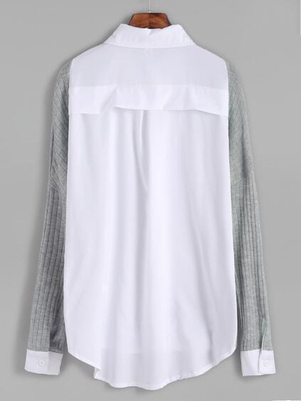 Contrast Ribbed High Low Drop Shoulder Seam Blouse