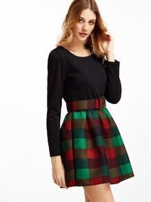 Contrast Check Plaid Combo Dress With Belt