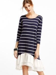 Contrast Striped Ruffle Hem High Low Dress