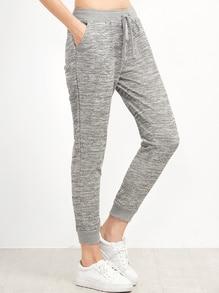 Pantalones estilo casual con cordón en la cintura - gris
