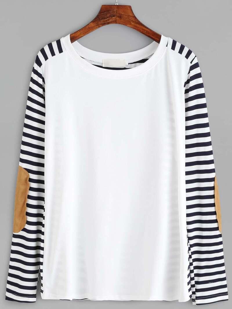 9cb1a5134 T-shirt manche à rayure avec patch - noir et blanc