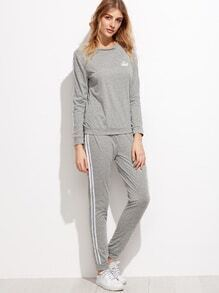 Grey Crown Print Striped Trim Sweatshirt With Pants