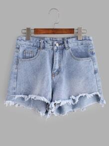 Light Blue Bleached Raw Hem Denim Shorts