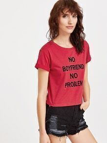 Red Letter Print Roll Sleeve T-shirt