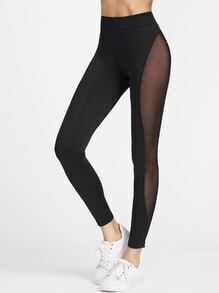 Black Sheer Mesh Insert Sport Leggings