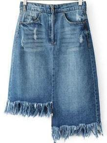 Blue Raw Hem Asymmetrical Denim Skirt