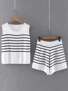 White Striped Square Neck Knitted Tank Top With Skirt