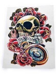 Skeleton And Flower Pattern Tattoo Sticker
