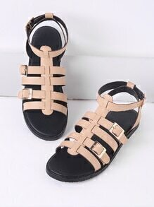 Apricot Buckle Detail Gladiator Flat Sandals