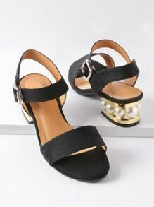 Black Faux Pearl Tow Part Heeled Sandals