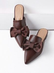 Brown Point Toe Bow Detail Slip On Flats