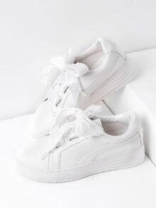 Zapatillas de cuero sintético con cordones - blanco