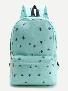 Blue Leaf Print Casual Backpack