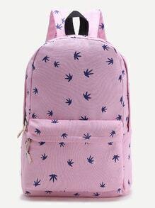 Pink Leaf Print Casual Backpack