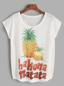 Ananas-Druck-Weiß-T-Shirt