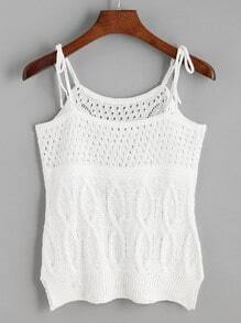 White Hollow Out Knit Tie Cami Top