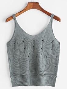 Grey Hollow Out Knit Cami Top