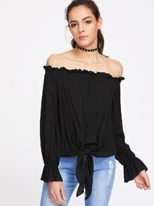Black Off The Shoulder Tie Hem Top