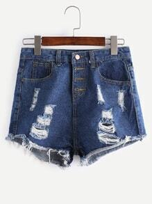 Blue Ripped Tassel Hem Denim Shorts