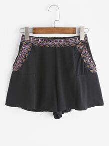Vintage Embroidery Tape Pockets Shorts