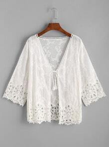 Crochet Lace Trim Tie Front Top