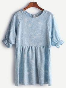 Blue Paisley Print Puff Sleeve Babydoll Dress