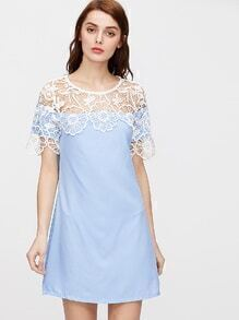 Blue Crochet Lace Trim Shift Dress