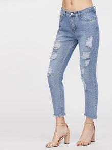 Blue Ripped Frayed Denim Pants