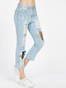 Blue Denim Splicing Mesh Ripped Jeans