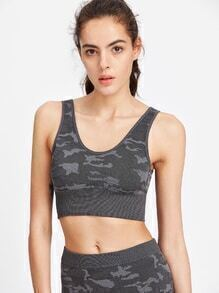Dark Grey Camo Print Crop Tank Top