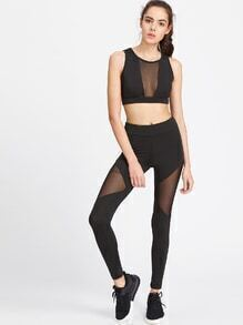 Black Sheer Mesh Insert Crop Tank Top With Leggings