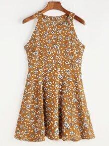 Vestido de cuello halter con estampado floral